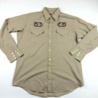 Ely Cattleman Mens Tan Embroidered Eagle Pearl Snap Shirt Size Large