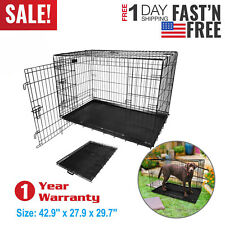 "42"" Inch Pet Kennel Cat Dog Folding Suitcase Crate Wire Metal Cage US Seller"