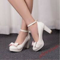 New Womens Mary Jane Lolita Block Heels Platform Bowknot Ankle Strap Shoes Sweet