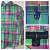 Polo Ralph Lauren Boys' Madras Plaid Button Down Shirt Sz LARGE (14-16) EUC
