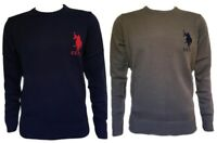 MEN'S NEW US POLO ASSN CREW NECK JUMPER SIZE S-M-L-XL-XXL BLACK NAVY KHAKI BROWN