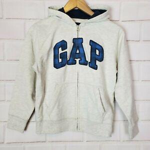 Gap Kids Boy's Long Sleeve Hoodie Zip Up Sweatshirt Jacket Ivory Heather Sz 10 L