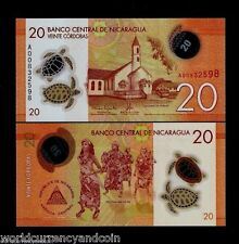 NICARAGUA 20 CORDOBA NEW 2015 TURTLE POLYMER UNC LATINO DANCER MONEY BANK NOTE