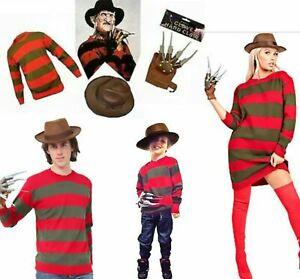 Halloween Kids Unisex Freddy Krueger Horror Fancy Dress Hat Jumper Glove Costume