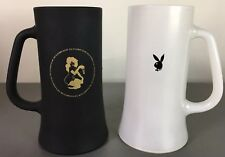Vintage Playboy Club Collectible Matte Frosted Glass Beer Steins