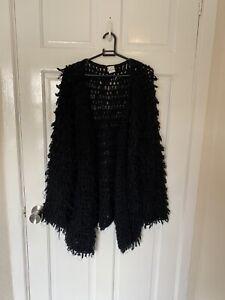 Angel Biba shaggy cardigan black shawl crochet open knit M/L