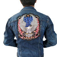 USA FLAG Eagle Iron On Patch Embroidered Applique Sewing Label punk biker Patch