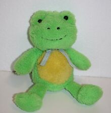 """Animal Adventure Easter FROG 10"""" Green Yellow Plush Gingham Bow Stuffed Soft Toy"""