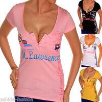 Haut Femme Tee-Shirt été sport sexy couleurs Col Rond col en V Col NEUF