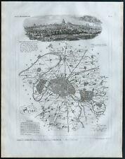 Seine et Plan de Paris - 1830 - Carte du département - Atlas Michel, Lorrain