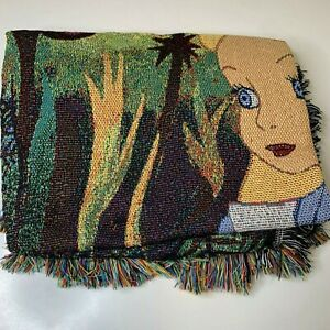 Alice in wonderland throw blanket knit woven 56x43