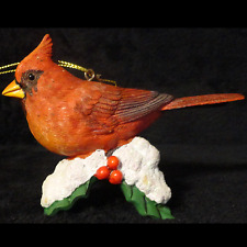 Danbury Mint Cardinal On Snow/Holly Songbird Christmas Ornament Figurine/Statue