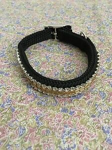 Extra Small Dog Gold and Rhinestone Detail Collar