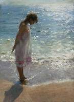 CHOP986 100% painted hand girl standing by the sea oil painting art on canvas