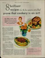 1931 Mrs. Williams Vaughn Moody 8 Brilliant Recipes Beef Vintage Print Ad 3279