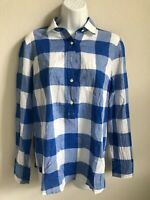 EUC J. Crew White and Blue Checkered Button Down Womens Long Sleeve Shirt Size 4