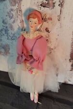 Vintage Porcelain Ballerina Doll Christmas Ornament Pink white outfit