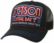 STETSON TRUCKER CAP BASEBALL MESH SNAP CAP KAPPE COCKTAIL BAR SCHWARZ NEU TREND