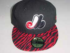 NEW! MONTREAL EXPOS NEW ERA 59FIFTY SIZE 7 1/2 BLACK/RED BASEBALL CAP/HAT NICE!