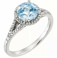 London Blue Topaz Gem & 1/5 ctw Diamonds Halo Design Ring 14K White Gold $2995