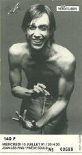 RARE / TICKET BILLET DE CONCERT - IGGY POP : LIVE A JUAN LES PINS - FRANCE 1991