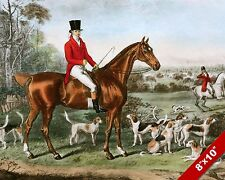 ENGLISH FOX HUNT HORSE FOXHUNTING HUNTING ART PAINTING REAL CANVAS PRINT