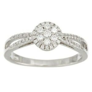 QVC Epiphany Round Cluster Design 14K White Gold Over Halo Ring Size 10