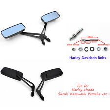 1 Pair Motorcycle Rearview Mirrors 8mm 10mm For Harley Touring Road Glide Black