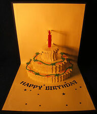 Birthday cards with 3D pop-up sculptures, set of 5 - free shipping