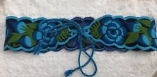 Embroidered Blue Floral Wide Belt Sash Art To Wear Bright Costume Flower Power