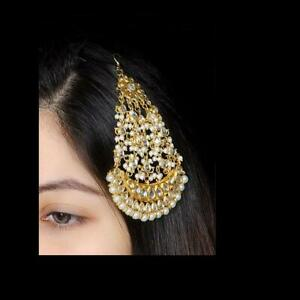 Traditional Bollywood Maang Tikka Jhoomar Passa Women Forehead Ethnic Jewelry Se
