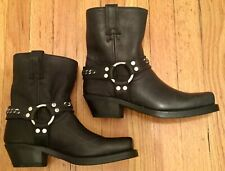 FRYE Women's Harness Chain Mid Calf Black Leather Boots #70566 Size 8M (NEW)
