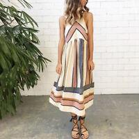 Women Sleeveless Boho Long Maxi Dress Lady Casual Beach Summer Sundress Holiday
