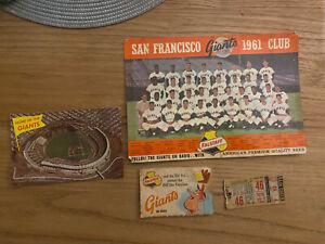 1961 San Francisco Giants Schedule Ticket Stub Postcard Falstaff Picture
