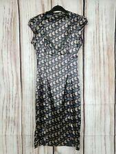 Vintage Miss Sixty Satin Slip Dress Geometric V Neck Size XS UK 6-8