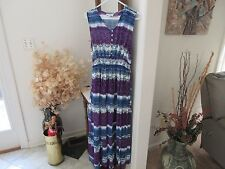 OSO Casuals Purple/Blue/White Scoop Neck Elastic Waist Maxi Dress! Size S