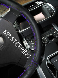 FOR BMW 3 SERIES E90 2005-2011 LEATHER STEERING WHEEL COVER PURPLE DOUBLE STITCH