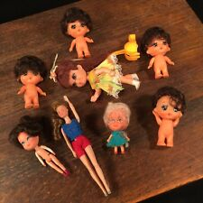 Vintage Doll Lot (8) Big Eyes Hair Japan Small Tiny Baby Priority Mail