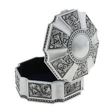 Round Ornate Finish Metal Jewelry Boxes Jewel Decor Storage Jar Velvet Layer