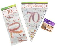 70th Birthday Decoration Kit Banner Bunting Confetti Rose Gold Him Her Men Women