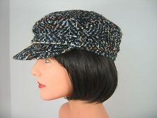 Unisex Black with Colors Wool Blend Newsboy Hat Cap Womens Mens MINT NWOT