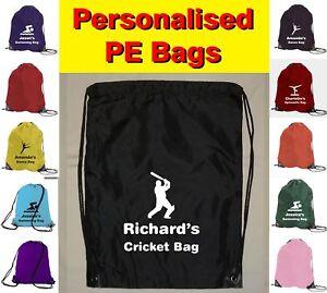 Personalised Drawstring Cricket Logo PE Sports School Gym Bag - Any Name Printed