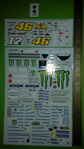 decal moto gp Valentino Rossi Vinales 2020 yamaha 1/12 éme convertion minichamps
