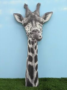 Giant Wooden Giraffe Head black and white