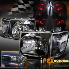 1998-2000 Toyota Tacoma 4WD Black Headlight W/ Corner & Dark Smoke Tail Light