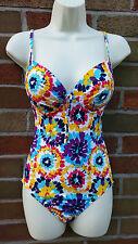 Lepel Fiesta Colourful Swimsuit Swimwear Size 32D (10 Perhaps?) Padded Plunge