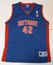L Youth Champion Jerry Stackhouse Detroit Pistons Basketball Jersey Blue EuC