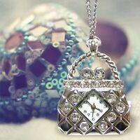 Miniature Shining Rhinestones HandBag Pendant Necklace Mini Pocket Watches