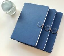 IDNY Navy Leather Journal Leather Writing Notebook Hardcover w Magnetic Closure