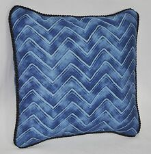 "Pillow made w Ralph Lauren Indigo Modern Blue Chevron Fabric 12"" trim cording"
